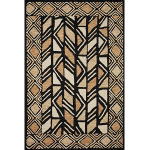 Nala Black Beige Rectangular: 7 Ft. 9 In. x 9 Ft. 9 In. Rug