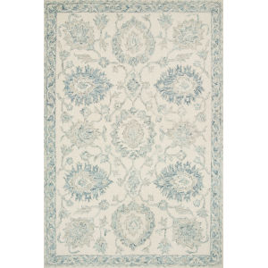 Norabel Ivory Blue Square: 1 Ft. 6 In. x 1 Ft. 6 In. Rug