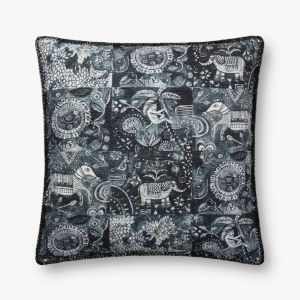 Charcoal Polyester Cotton Acrylic and Viscose 22 In. x 22 In. Throw Pillow Cover