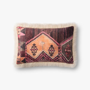 Ivory Multicolor Acrylic and Polyester 13 In. x 21 In. Throw Pillow Cover