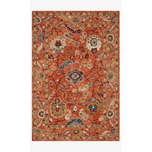 Padma Orange and Multicolor Round: 5 Ft. x 5 Ft.  Rug