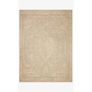 Priya Ocean and Ivory Rectangle: 7 Ft. 9 In. x 9 Ft. 9 In. Rug