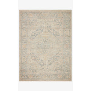 Priya Bone and Bluestone Rectangle: 7 Ft. 9 In. x 9 Ft. 9 In. Rug