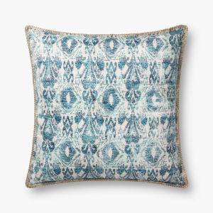 Blue Polyester 22 In. x 22 In. Throw Pillow Cover with Poly Insert