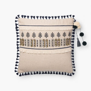 Natural Blue Cotton Polyester and Viscose 18 In. x 18 In. Throw Pillow Cover with Poly Insert