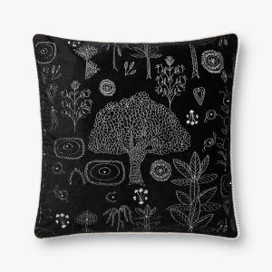 Black Polyester 22 In. x 22 In. Throw Pillow Cover with Poly Insert