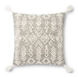 Gray and Ivory 22 x 22 In. Pillow Cover with Poly Insert