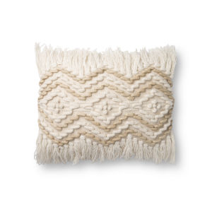 Natural and Beige 13In. x 21In. Pillow Cover with Poly Fill