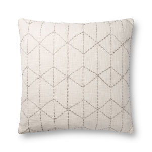 Ivory and Gray 22In. x 22In. Pillow Cover with Poly Fill