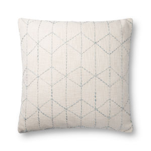 Ivory and Light Blue 22In. x 22In. Pillow Cover with Poly Fill