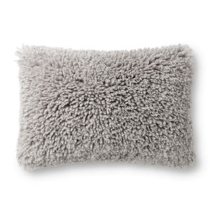 Gray 16In. x 26In. Pillow Cover with Poly Fill