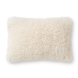 White 16In. x 26In. Pillow Cover with Poly Fill