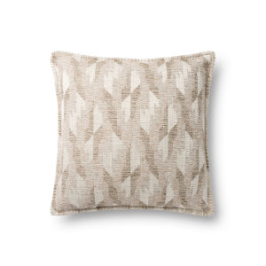 Beige 18In. x 18In. Pillow Cover with Poly Fill
