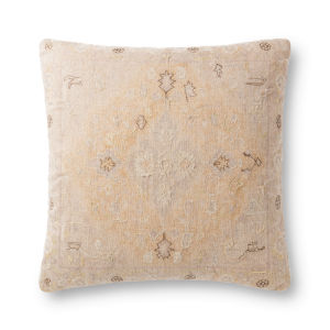 Yellow and Beige 22In. x 22In. Pillow Cover with Poly Fill