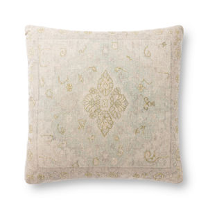 Green and Beige 22In. x 22In. Pillow Cover with Poly Fill