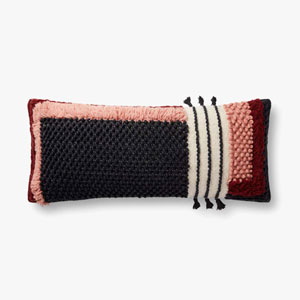 Black and Red Chainstitched Pillow with Tassels