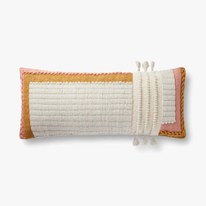 Ivory and Rust Chainstitched Pillow with Tassels