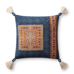 Navy and Gold 18 In. x 18 In. Pillow with Tassels