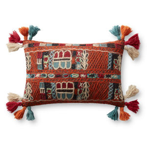 Red, Blue and Orange 13 In. x 21 In. Pillow with Tassels