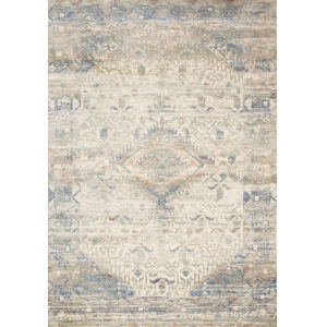 Revere Ivory with Blue Rectangle: 7 Ft. 1 x 10 Ft. Rug