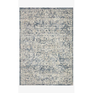Theory Ivory and Blue Runner: 2 Ft. 7 In. x 10 Ft. 10 In.