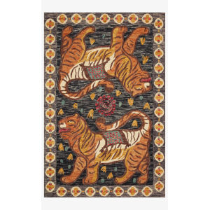 Justina Blakeney Tigress Charcoal and Tangerine Rectangle: 5 Ft. x 7 Ft. 6 In. Rug