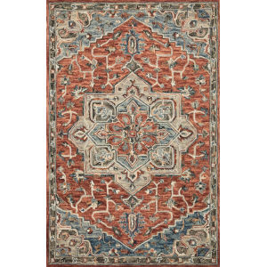 Victoria Red with Multicolor Rectangle: 3 Ft. 6 In. x 5 Ft. 6 In. Rug