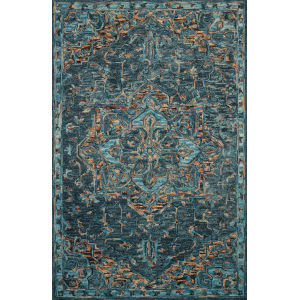 Victoria Teal with Multicolor Rectangle: 7 Ft. 9 In. x 9 Ft. 9 In. Rug