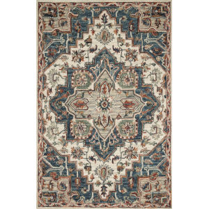 Victoria Blue with Red Rectangle: 3 Ft. 6 In. x 5 Ft. 6 In. Rug
