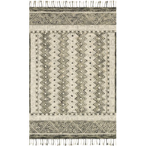 Zharah Charcoal and Taupe 2 Ft. 6 In. x 7 Ft. 6 In. Hooked Rug