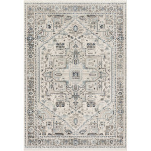 Athena Ivory and Gray 2 Ft. 6 In. x 7 Ft. 5 In. Power Loomed Rug