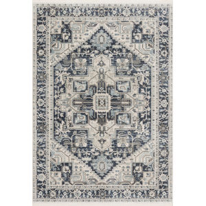 Athena Navy and Ivory 5 Ft. x 7 Ft. 5 In. Power Loomed Rug