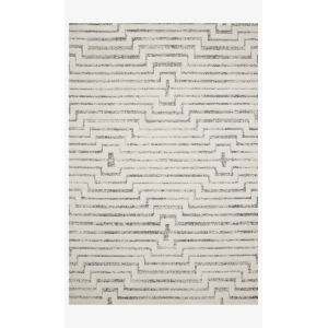 Hagen White and Sky Rectangular: 2 Ft. 7 In. x 7 Ft. 8 In. Area Rug