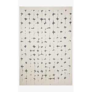 Hagen White and Navy Rectangular: 2 Ft. 7 In. x 10 Ft. 10 In. Area Rug