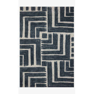Hagen Blue and White Rectangular: 3 Ft. 7 In. x 5 Ft. 7 In. Area Rug