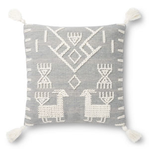 Justina Blankeney Gray Ivory 22 x 22 Inch Tribal Design Pillow