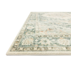 Rosette Teal Ivory Rectangular: 7 Ft. 6 In. x 9 Ft. 6 In. Rug