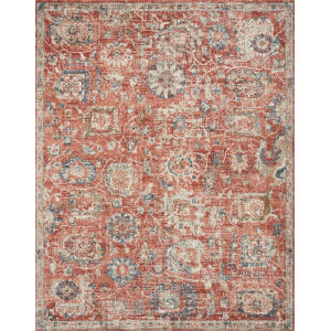 Saban Rust and Dark Gray 6 Ft. 7 In. x 9 Ft. 3 In. Area Rug