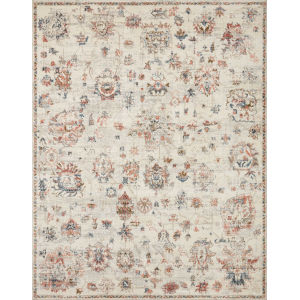 Saban Ivory, Blue and Spice 6 Ft. 7 In. x 9 Ft. 3 In. Area Rug