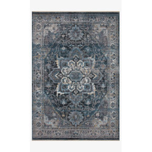 Samra Denim and Gray Rectangular: 9 Ft. 6 In. x 13 Ft. 1 In. Area Rug