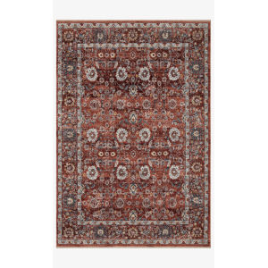 Samra Brick and Multicolor Rectangular: 5 Ft. 3 In. x 7 Ft. 9 In. Area Rug