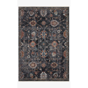 Samra Charcoal and Multicolor Rectangular: 5 Ft. 3 In. x 7 Ft. 9 In. Area Rug