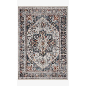 Samra Ivory and Denim Rectangular: 9 Ft. 6 In. x 13 Ft. 1 In. Area Rug