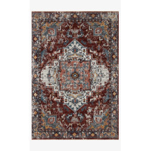 Samra Brick and Gray Rectangular: 5 Ft. 3 In. x 7 Ft. 9 In. Area Rug