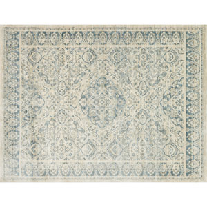 Crafted by Loloi Trousdale Ivory Blue Round: 5 Ft. 7 In. x 5 Ft. 7 In. Rug