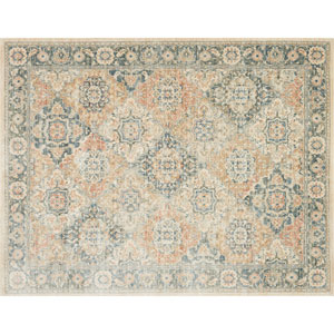 Crafted by Loloi Trousdale Multicolor Blue Round: 5 Ft. 7 In. x 5 Ft. 7 In. Rug