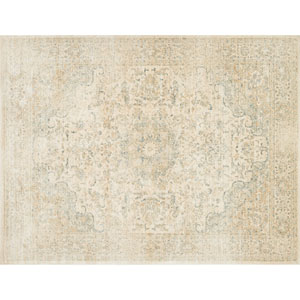 Crafted by Loloi Trousdale Sand Blue Round: 5 Ft. 7 In. x 5 Ft. 7 In. Rug
