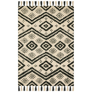 Crafted by Loloi Zagora Ivory Black Rectangle: 7 Ft. 9 In. x 9 Ft. 9 In. Rug
