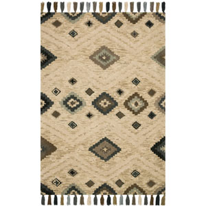 Crafted by Loloi Zagora Beige Multicolor Rectangle: 5 Ft. x 7 Ft. 6 In. Rug