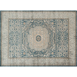 Century Blue and Sand Rectangular: 2 Ft 7 In x 4 Ft Rug